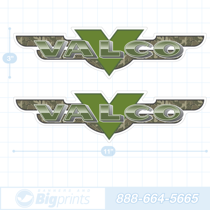 Valco boat decals camouflage sticker package military green