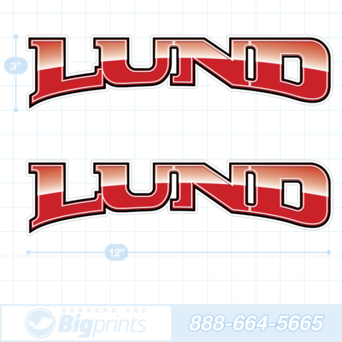 Lund boat decals fire engine red sticker package