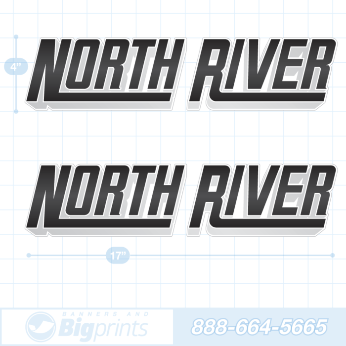 North River boat decals 3D black sticker package
