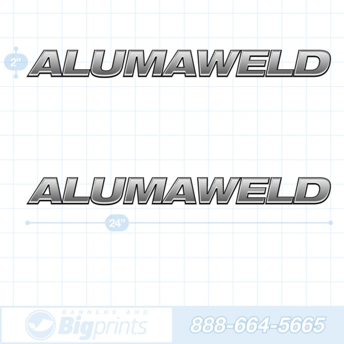 Alumaweld boat decals factory silver sticker package