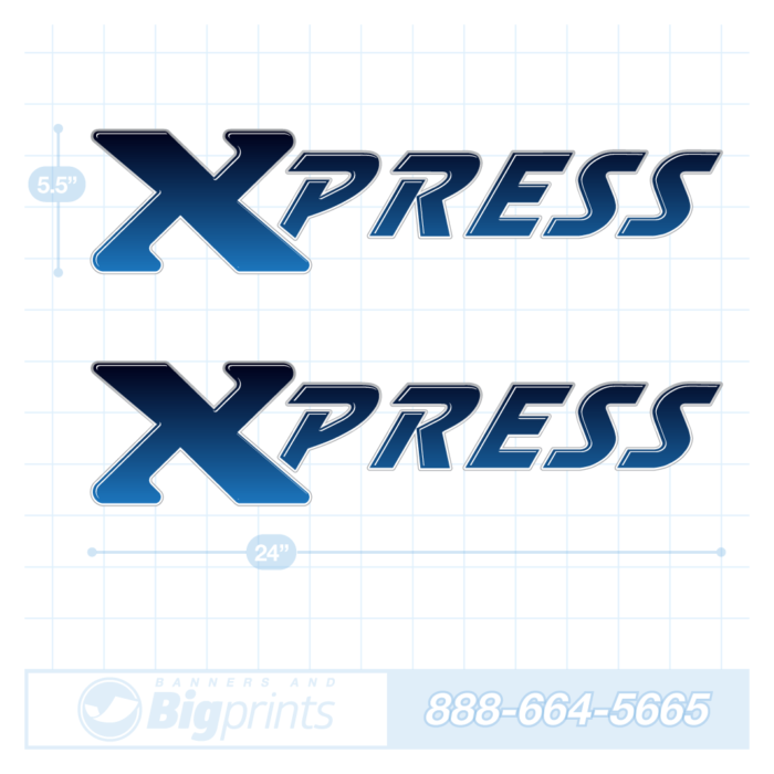 Xpress boat decals glossy blue sticker package
