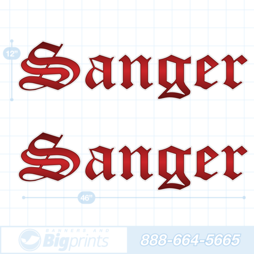 Sanger boat decals blood red sticker package