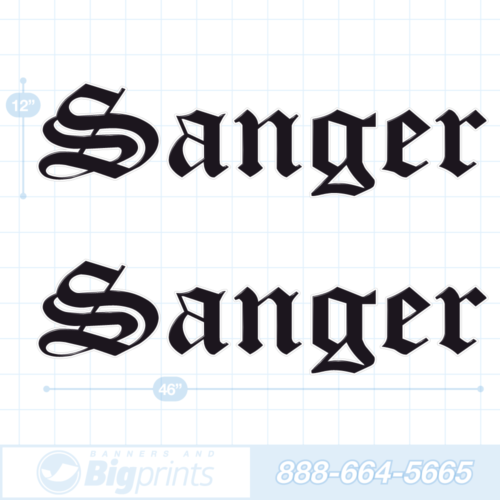 Sanger boat decals factory black sticker package