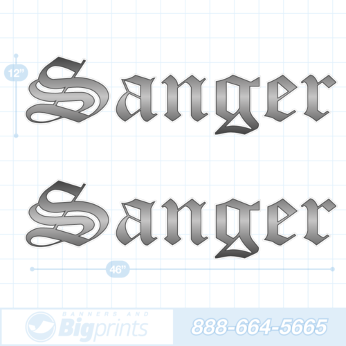 Sanger boat decals gun metal gray sticker package