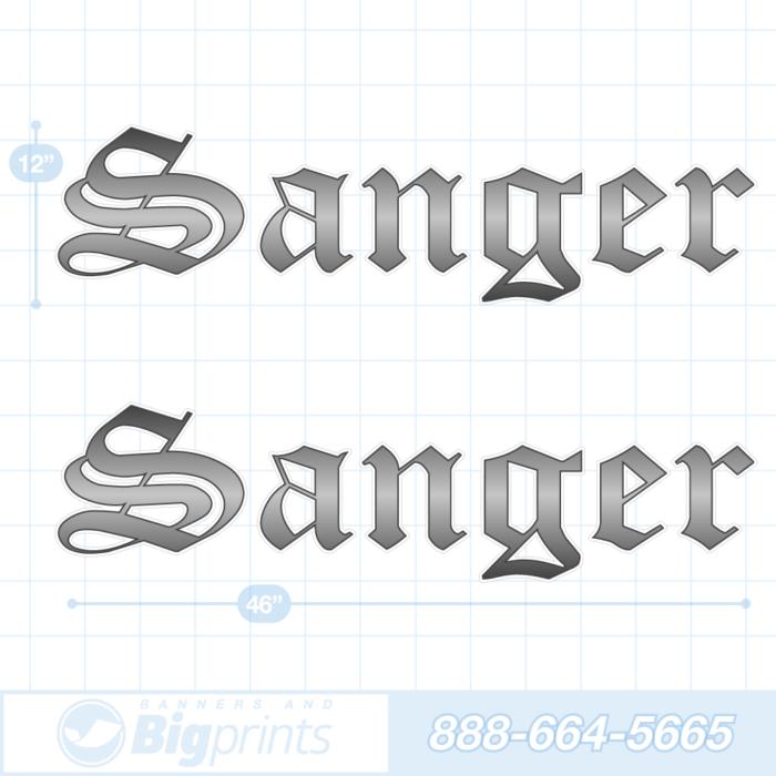 Sanger boat decals gun metal gray sticker package
