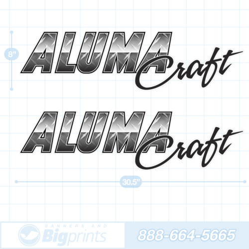 Alumacraft boat decals diamond plate metal gray sticker package