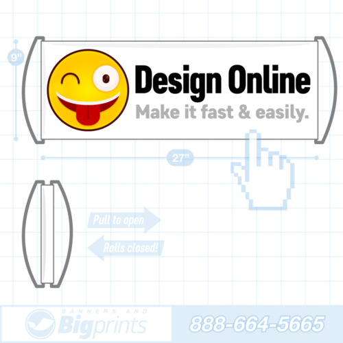 Hand held retractable roll up fan banner design online