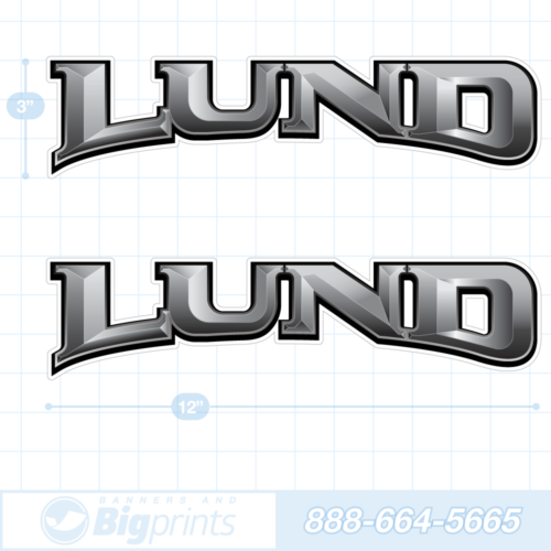 Lund boat decals 3D chrome sticker package gray