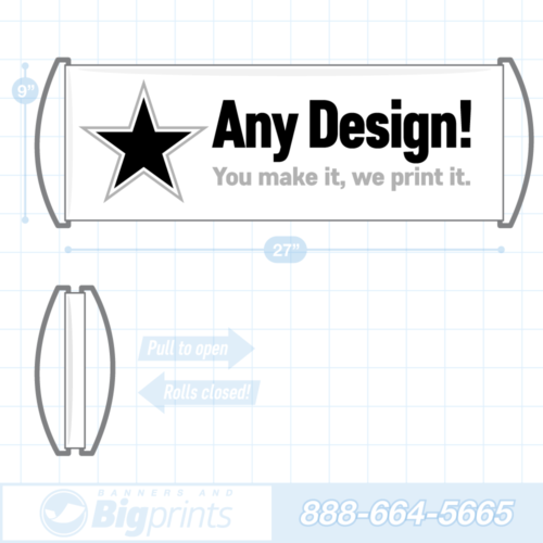 Hand held retractable roll up fan banner custom design