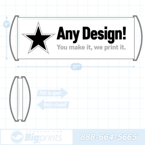 Hand held retractable roll up fan banner custom design