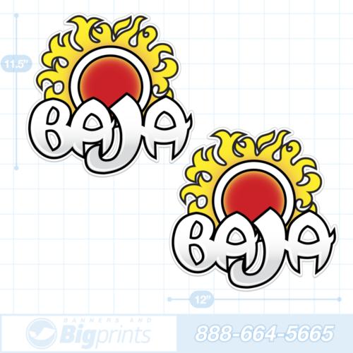 Baja boat decals retro sunrise sticker package