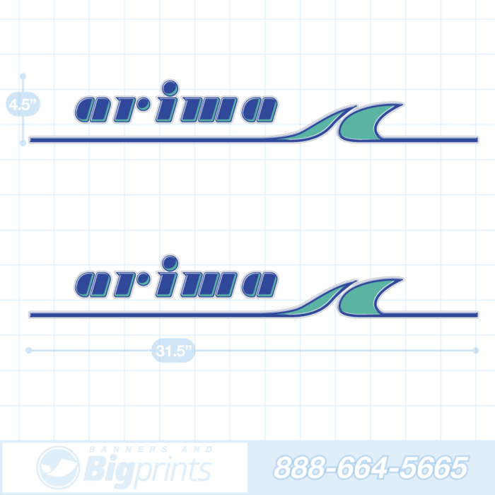 Arima boat decals factory aqua blue sticker package