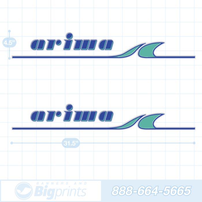 Arima boat decals factory aqua blue sticker package