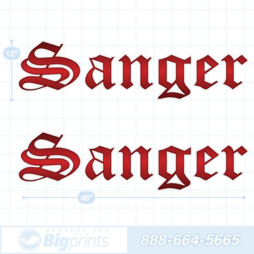 Sanger boat decals blood red sticker package