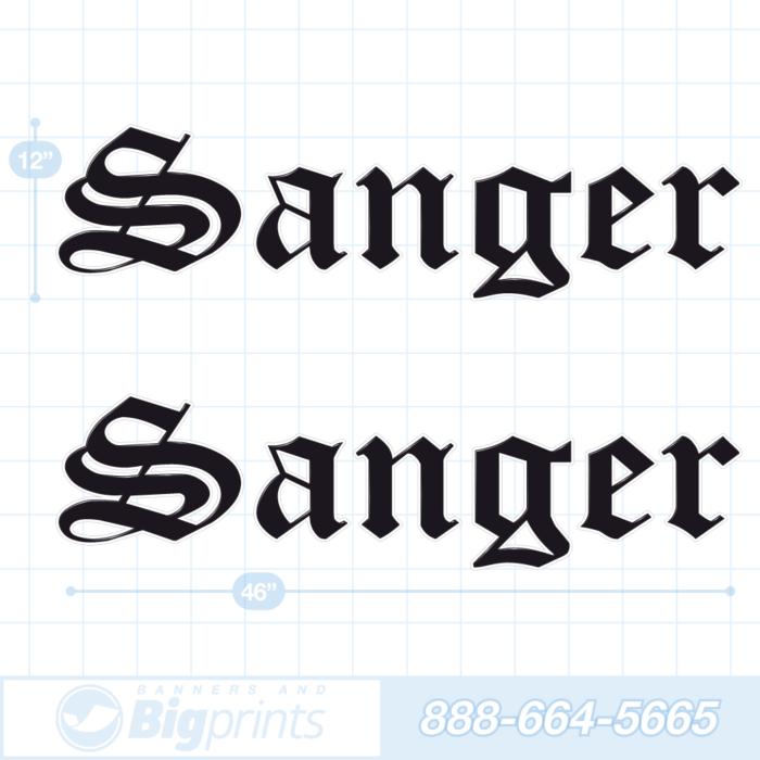 Sanger boat decals factory black sticker package