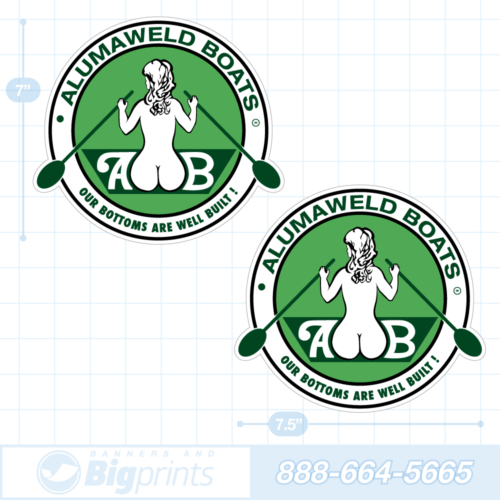 Alumaweld boat decals retro green sticker package
