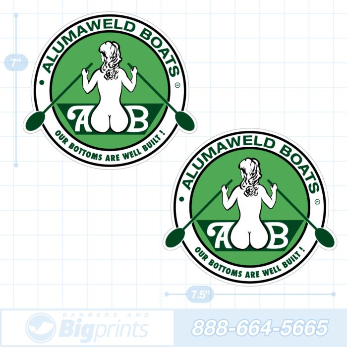 Alumaweld boat decals retro green sticker package