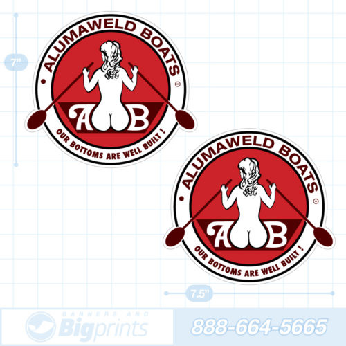 Alumaweld boat decals retro red sticker package