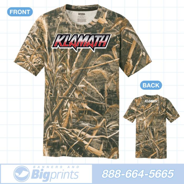 Klamath boats real camouflage red alert logo t shirt