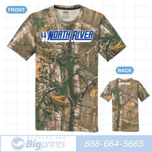 North River boats real camouflage factory blue logo t shirt