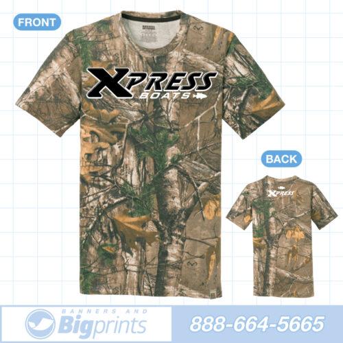 xpress boats real camouflage black retro logo t shirt