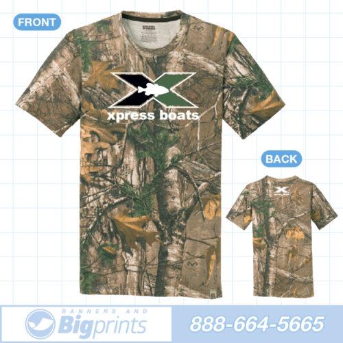 Xpress boats real camouflage green x logo t shirt