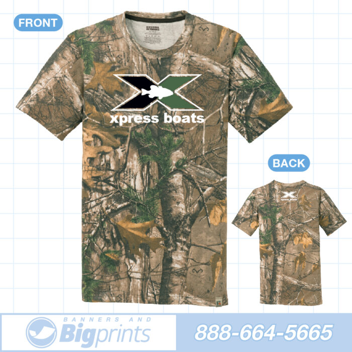 Xpress boats real camouflage green x logo t shirt
