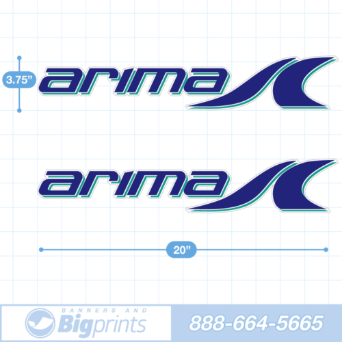 Arima Boat Decals circa 2020 factory sticker package in aqua blue colors