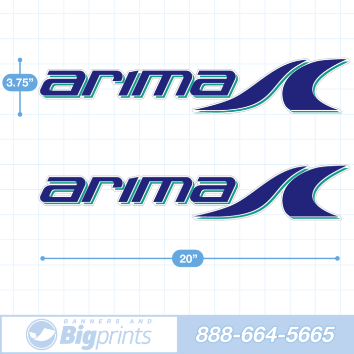 Arima Boat Decals circa 2020 factory sticker package in aqua blue colors