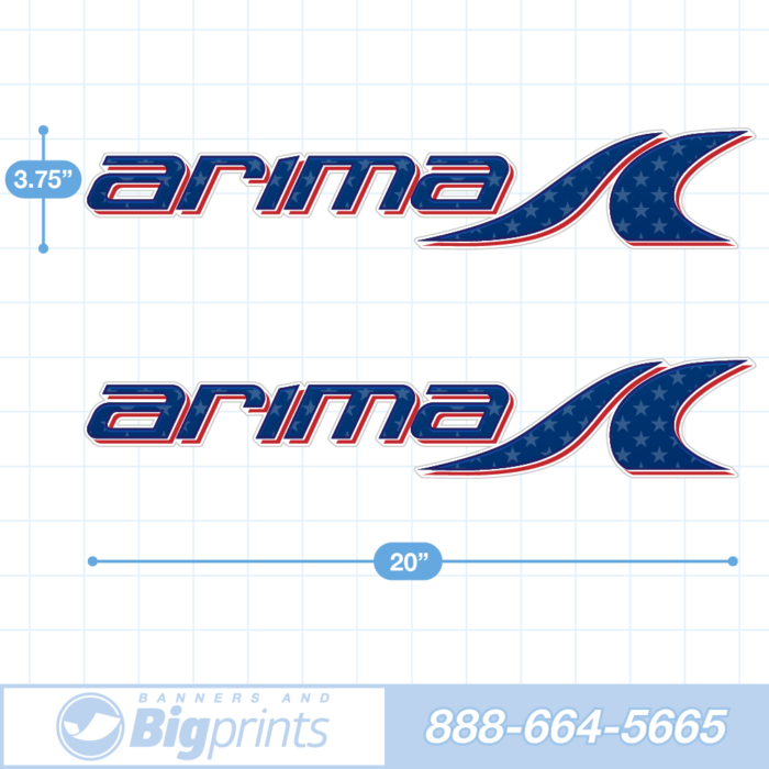 Arima Boat Decals circa 2020 cuntom color sticker package in American red white and blue colors