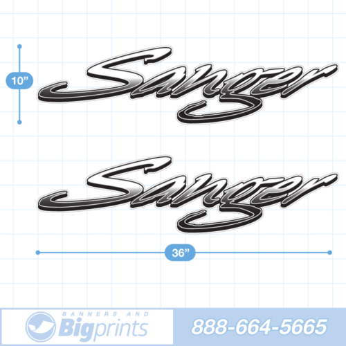 "Set of two Sanger brand boat decals with custom ""Freestyle"" design in black and white colors"