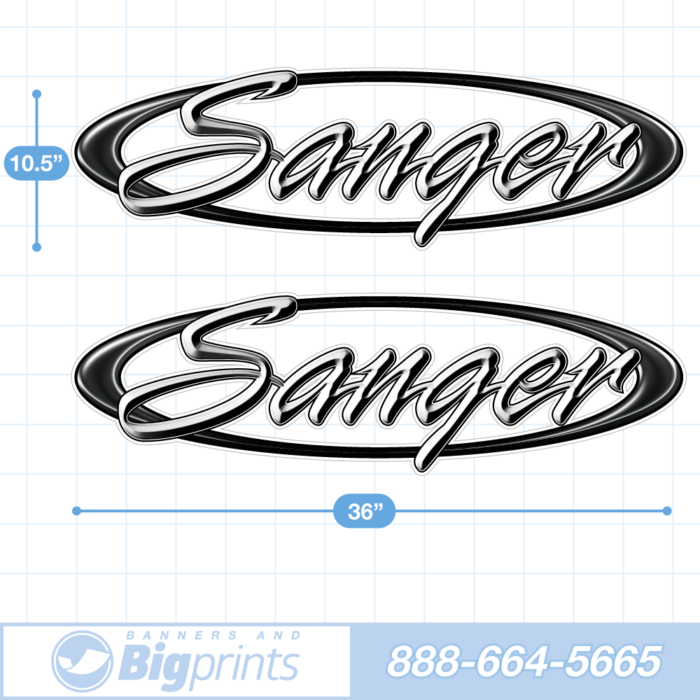 "Set of two Sanger brand boat decals with custom ""Scripted"" design in black and white colors"