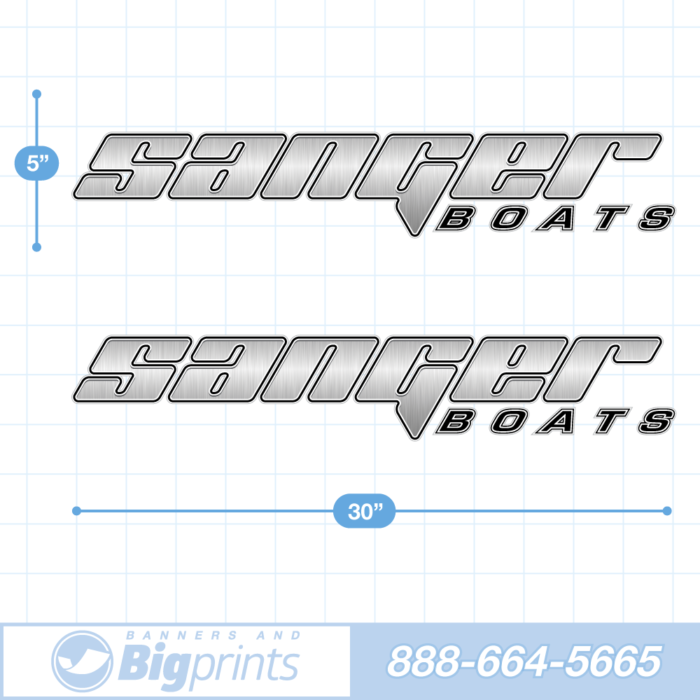 "Set of two Sanger brand boat decals with custom ""Steel Dagger"" design in black and silver colors"