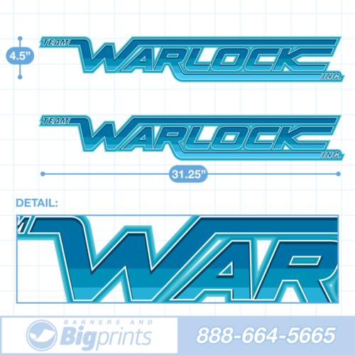 "A set of two Warlock brand boat decals with custom ""Aquamarine"" colors (teal, aqua, and blue)"