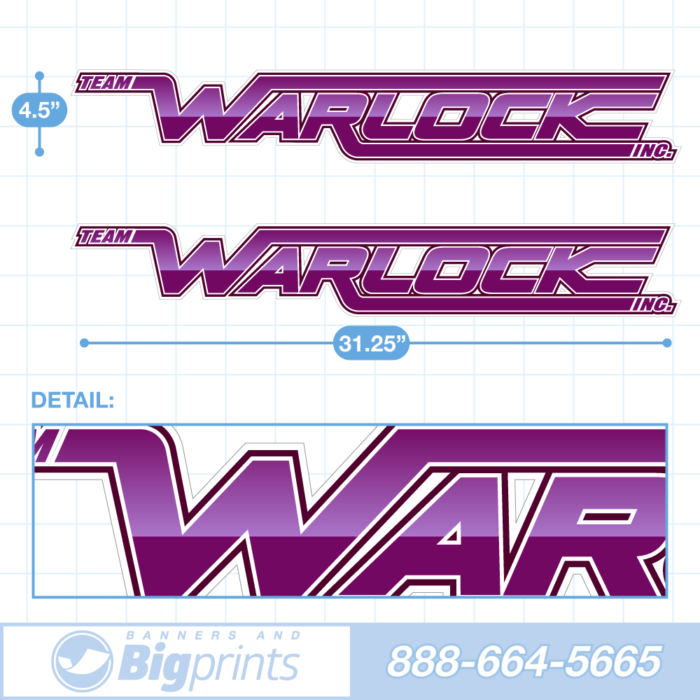 "Set of two Warlock brand boat decals with custom ""Miami Purple"" colors"
