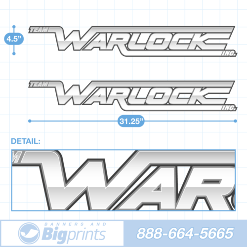 "A set of two Warlock brand boat decals with custom ""Quicksilver"" colors (white and gray)"